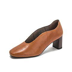 millie's/妙丽2018秋专柜同款羊皮复古方头粗跟女单鞋LP228CM8