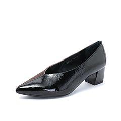 millie's/妙丽2018秋专柜同款漆牛皮绒布拼接粗跟女单鞋LH718CQ8