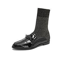 millie's/妙丽2018冬专柜同款漆牛皮编织亮布袜靴女短鞋LN840DD8