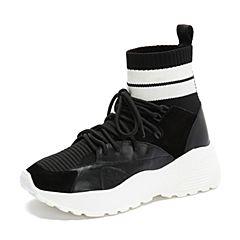 millie's/妙丽2018秋专柜同款牛皮布面时尚袜靴女休闲鞋23081CM8