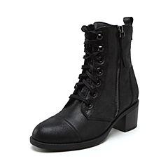 millie's/妙丽2018冬专柜同款牛皮时尚马丁靴方跟女短靴LX542DD8