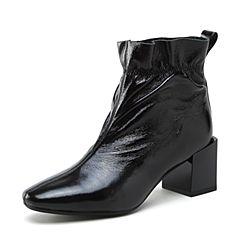 millie's/妙丽2018冬专柜同款漆牛皮时尚粗跟女短靴LP248DD8