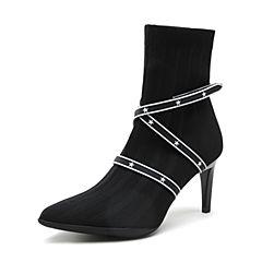 millie's/妙丽2018冬专柜同款编织布时尚高跟女短靴LH947DD8