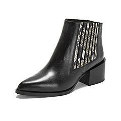 millie's/妙丽2018冬专柜同款牛皮时尚方跟女短靴LB450DD8