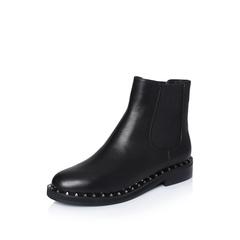 millie's/妙丽2018冬专柜同款牛皮铆钉时尚方跟女短靴QY559DD8