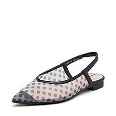 millie's/妙丽2019春专柜同款网面牛皮革尖头方跟女凉鞋LB702AH9