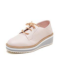 millie's/妙丽2019春专柜同款羊皮革时尚坡跟女休闲单鞋LZ823AM9