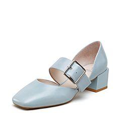 millie's/妙丽2019春专柜同款牛皮革时尚粗跟女单凉鞋LY704AK9