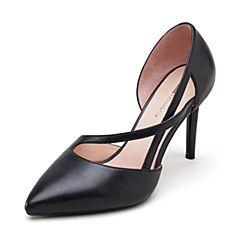 millie's/妙丽2019春专柜同款羊皮革时尚通勤高跟女单凉鞋LXX67AK9