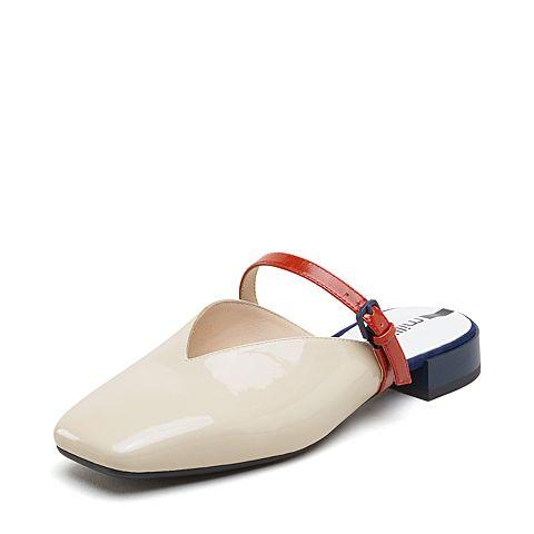 millie's/妙麗2019春專柜同款漆牛皮革小V口方跟女涼拖鞋LZ504AH9