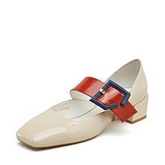 millie's/妙丽2019春专柜同款漆皮牛皮时尚方跟女单凉鞋LY701AK9