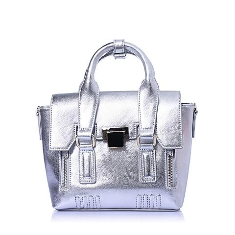 百丽旗下15MINS/15分钟2016春专柜同步款银人造革单肩包X0601AX6