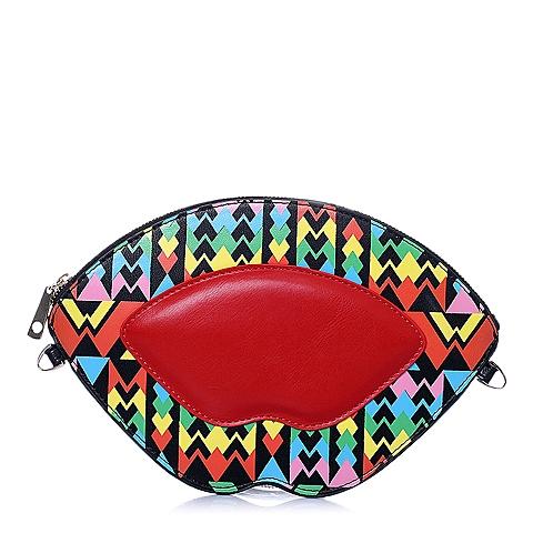 百丽旗下15MINS/15分钟2016春专柜同款黑/红印花人造革单肩包X0609AX6
