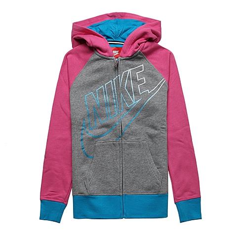 NIKE耐克童装 春季新品专柜同款女大童针织连帽茄克外套645117-063