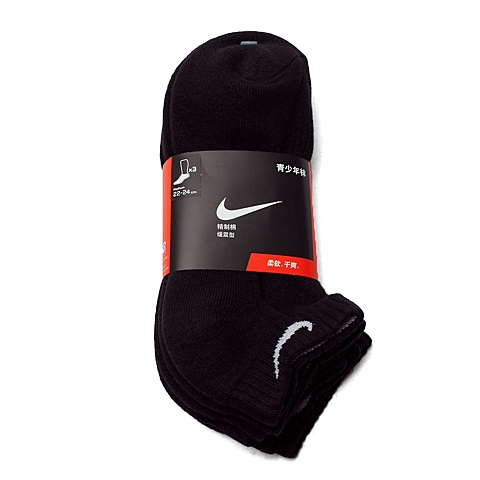 NIKE耐克童装 秋季新品专柜同款3P YTH CTN CUSH LOW CUT W/ MOI中性儿童袜子优惠装SX4942-001