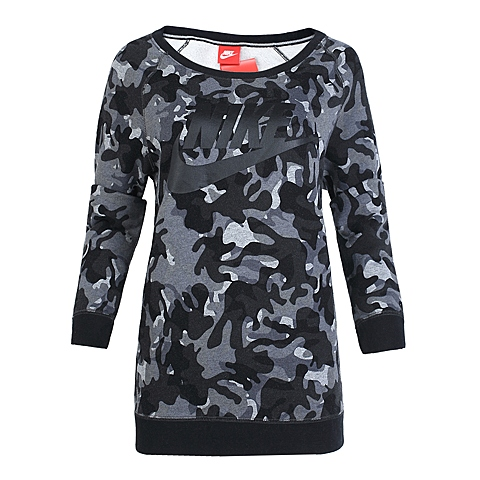 NIKE耐克 新款女子RALLY BF CREW-AOP卫衣/套头衫684132-010