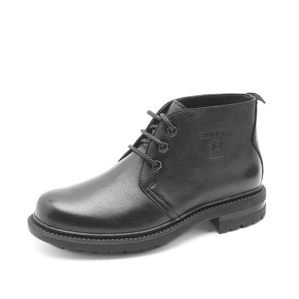 senda男靴; 森达男靴; 冬季森达黑色牛皮男棉鞋2mf57r