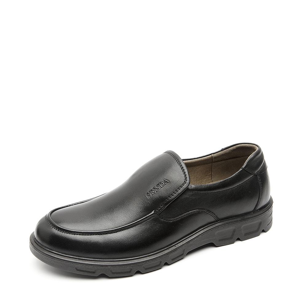 senda/森达秋季黑色牛皮男单鞋d20105