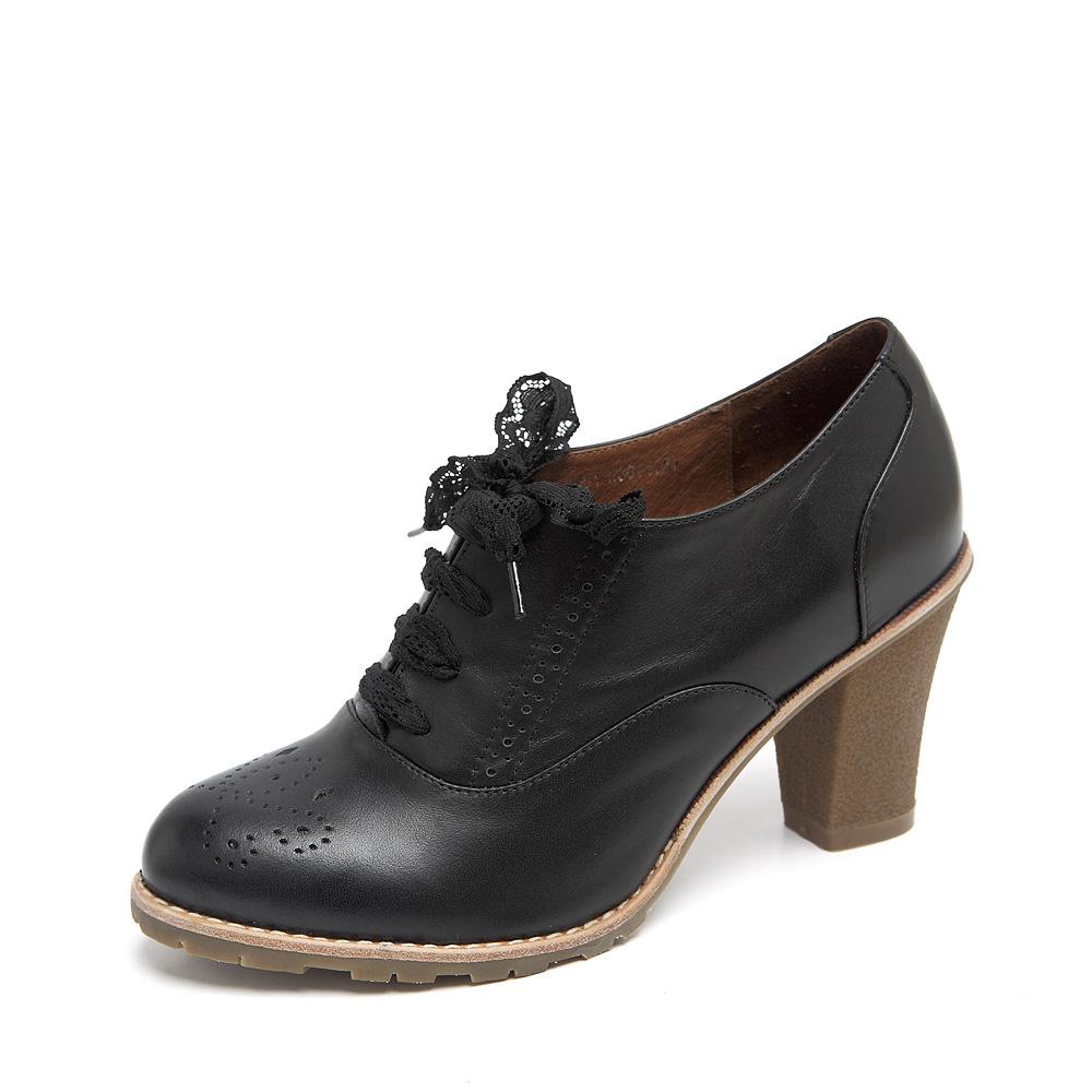 senda/森达 及踝靴2012秋季黑色打蜡牛皮女皮鞋201-3d