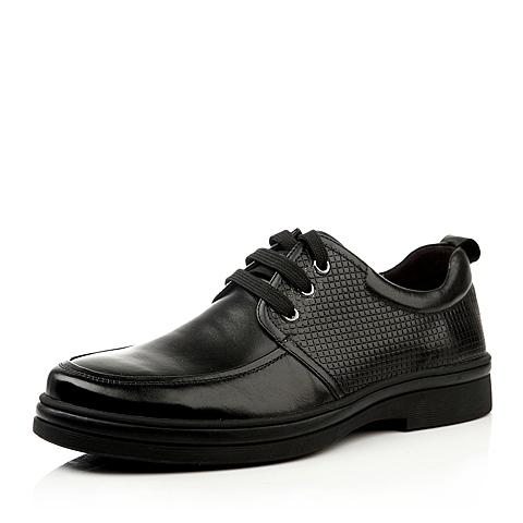 SENDA/森达秋季黑色打蜡小牛皮男单鞋51081CM3