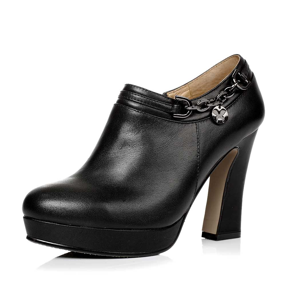senda/森达秋季黑色小牛皮女单鞋4kd65cm3超高跟粗跟水台金属链优雅满