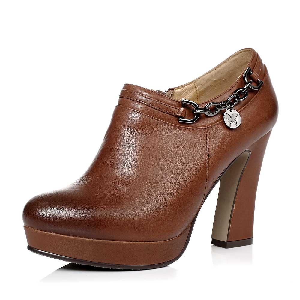 senda/森达秋季棕色蜡牛皮女单鞋4kd65cm3超高跟粗跟水台金属链优雅满
