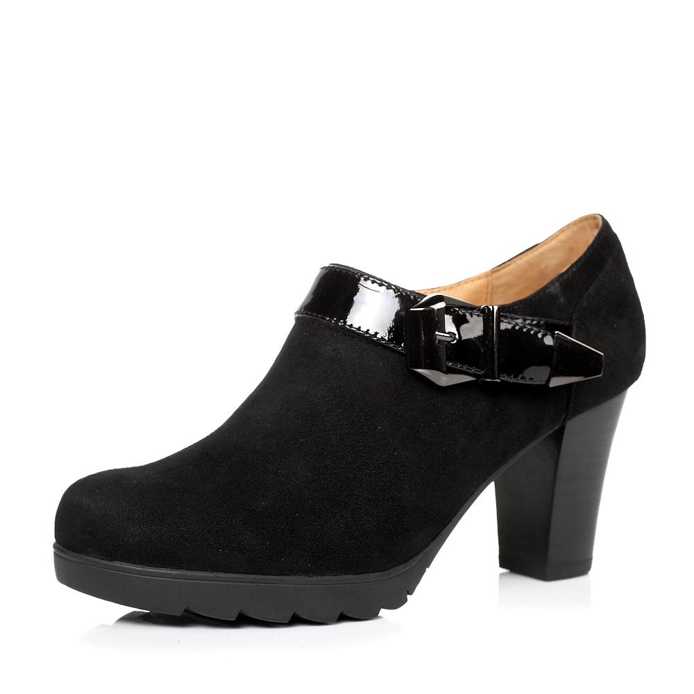 senda/森达秋季黑色羊绒皮/黑色漆牛皮女单鞋4kz61cm3