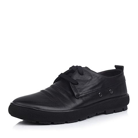 Senda/森达黑色蜡牛皮男单鞋2ZJ03CM3舒适商务休闲男鞋