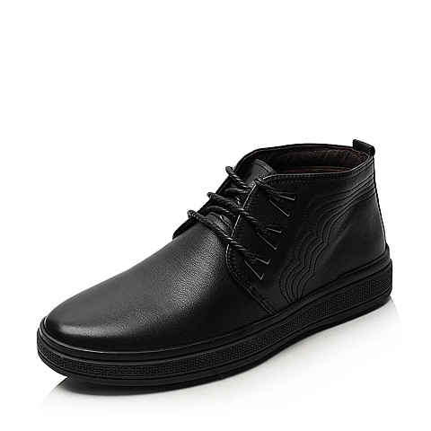 SENDA/森达冬季专柜同款 男士黑摔牛男低靴(绒里)1AG40DD3