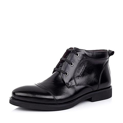 Senda/森达冬季黑色小牛皮男靴1AB42DD4正装时尚商务男鞋婚鞋