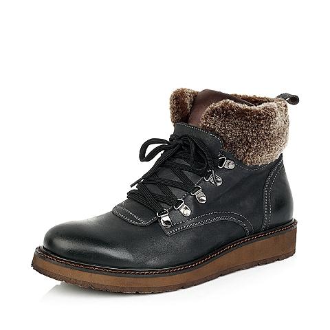 Senda/森达冬季黑色蜡牛皮/棕色布男靴1AO45DD4