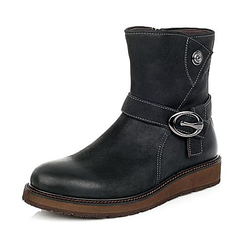 Senda/森达冬季黑色蜡牛皮男靴1AO42DD4时尚休闲保暖
