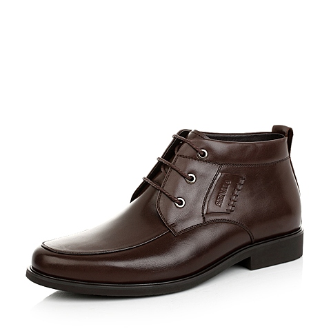 Senda/森达冬季棕色擦蜡牛皮男低靴(绒里)52209DD4正装时尚商务男靴婚鞋