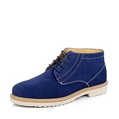 Senda/森达冬季深蓝色牛绒男低靴(绒里)14088DD4时尚休闲韩版流行男靴