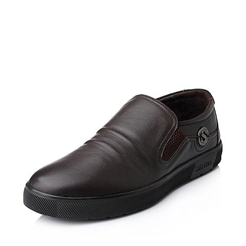 Senda/森达秋季专柜同款棕色牛皮商务休闲男单鞋1CK08CM4
