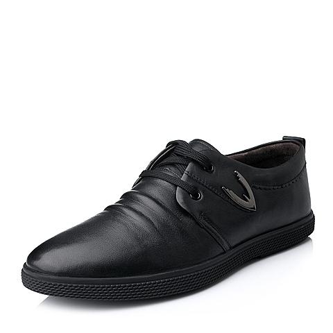 Senda/森达秋季专柜同款黑色牛皮时尚休闲男单鞋1CZ23CM4