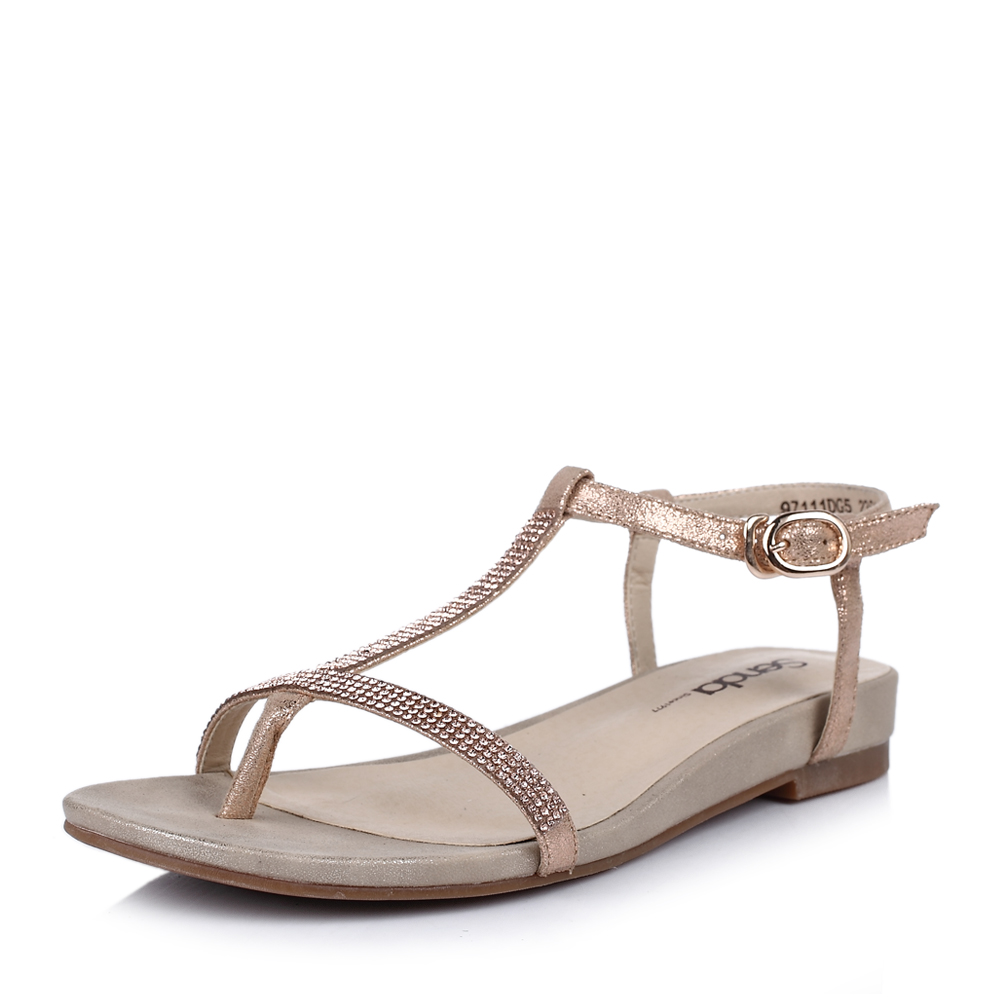 senda/森达香槟色布纹羊皮97111bl4女皮凉鞋夏季闪钻细带平底女凉鞋