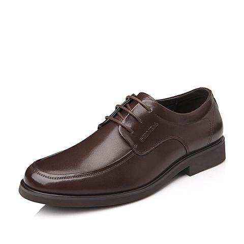 SENDA/森达棕色牛皮男单鞋商务男鞋婚鞋秋季A8391CM4