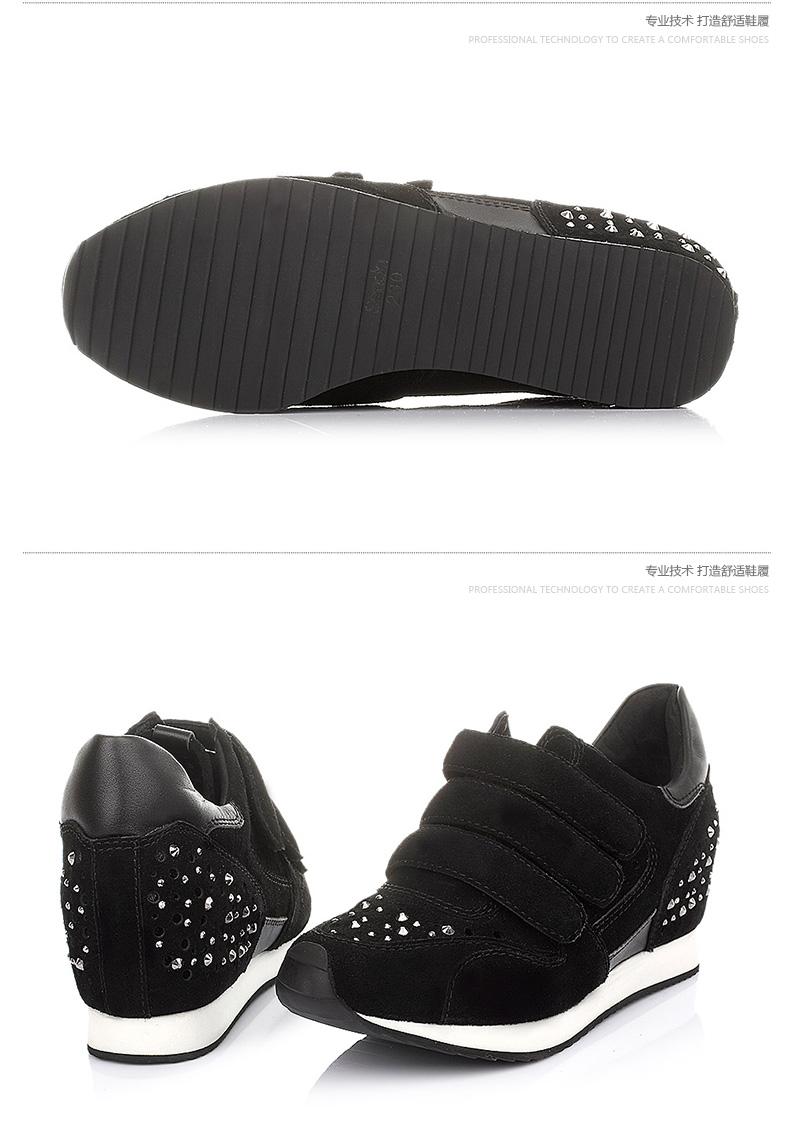 senda/森达黑色牛绒女单鞋2015春季a6-99am5潮流时尚