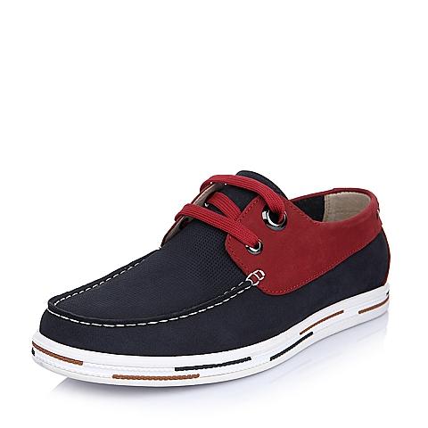 Senda/森达夏季蓝色牛皮活力时尚男单鞋AB554BM5
