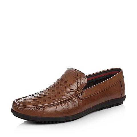 Senda/森达年夏季棕色牛皮潮流时尚男单鞋75216BM5