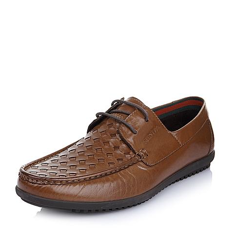 SENDA/森达夏季棕色牛皮男单鞋75232BM5