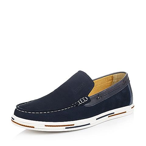 Senda/森达夏季蓝色牛皮简约时尚男单鞋Q7276BM5