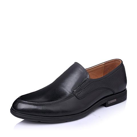Senda/森达春季专柜同款黑色打蜡牛皮商务休闲男单鞋1DW06AM5