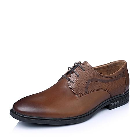 Senda/森达春季专柜同款棕色时尚商务舒适打蜡牛皮男单鞋1DX09AM5