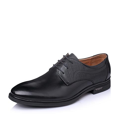 Senda/森达春季专柜同款黑色时尚商务舒适牛皮男单鞋1DX09AM5