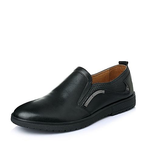 Senda/森达春季专柜同款黑色打蜡牛皮休闲男单鞋1EH02AM5