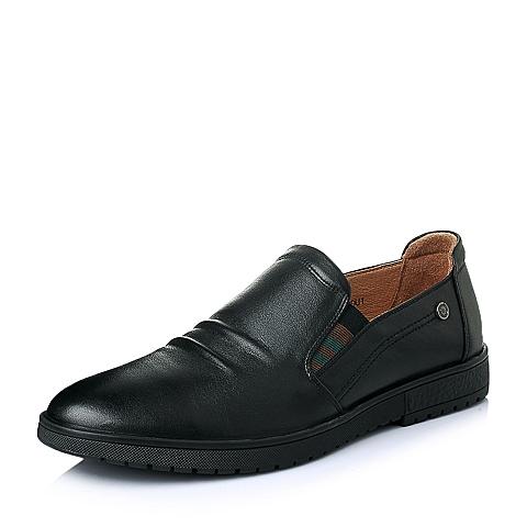 Senda/森达春季专柜同款黑色打蜡牛皮休闲男单鞋1EH08AM5