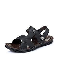 Senda/森达夏季专柜同款黑色打蜡牛皮男凉鞋FR115BL5