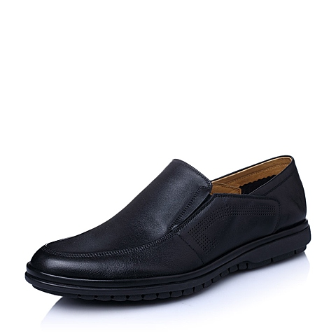 Senda/森达夏季专柜同款黑色牛皮男单鞋FE102BM5